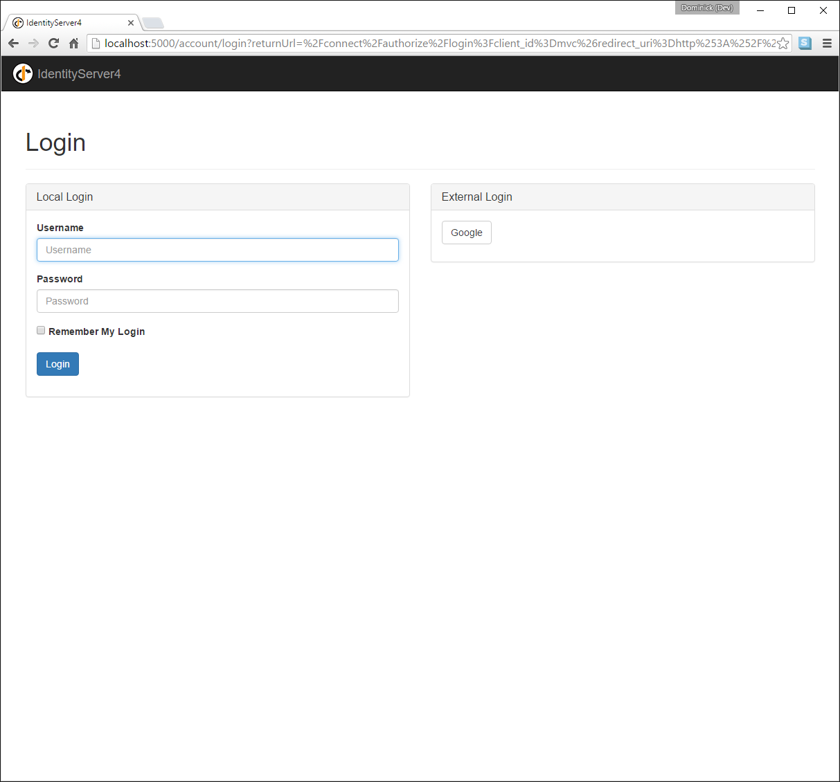 Adding Support for External Authentication — IdentityServer4